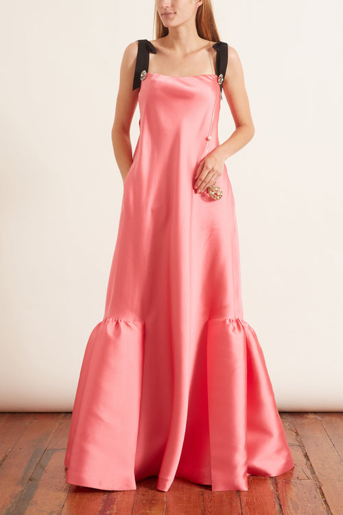 Jewel Button Flounce Hem Gown in Peony