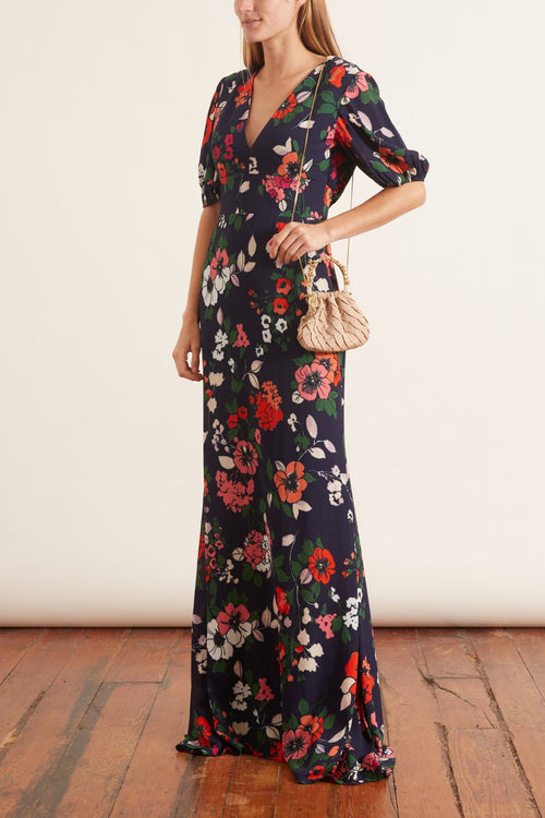 Printed Floral V-Neck Gown in Peony Multi