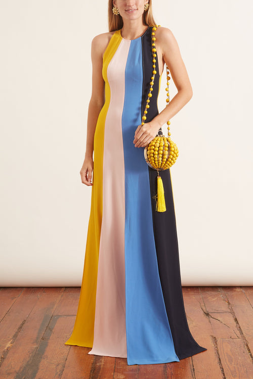 Seamed Halter Gown in Multi