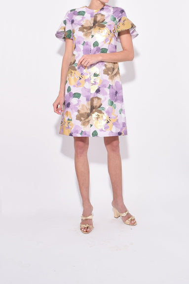Flutter Sleeve Tunic Dress in Lilac/Gold