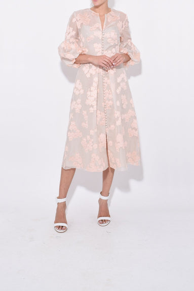 Full Sleeve Button Front Dress in Blush