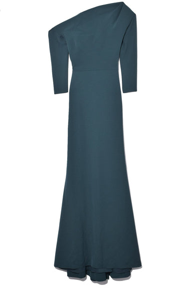 Gown With Ruched Neckline in Forest