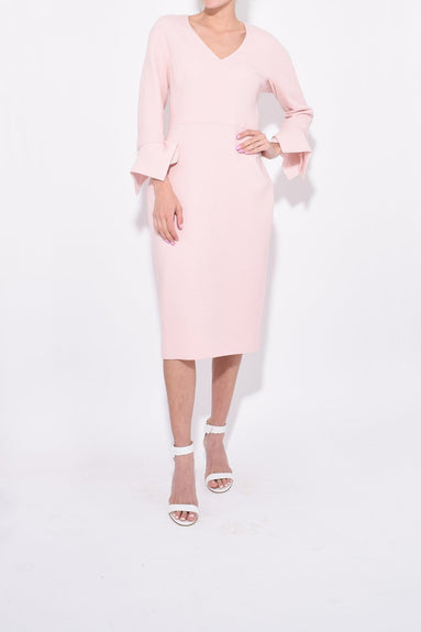 Handkerchief Sleeve Fitted V-Neck Sheath in Blush