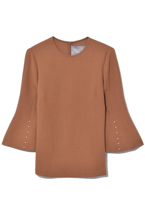 Pearl Sleeve Tunic Top in Chestnut