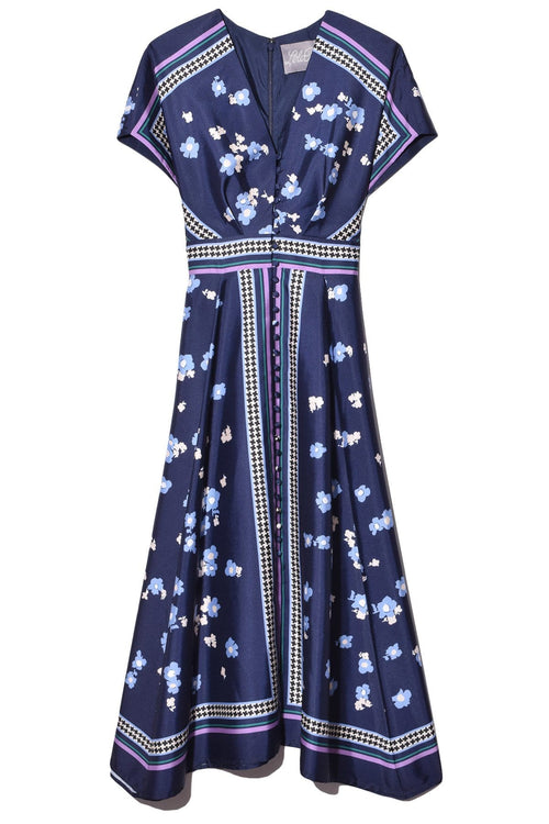V-Neck Button Front Dress in Navy Multi