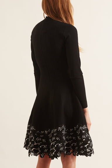 Lace Hem Dress in Black