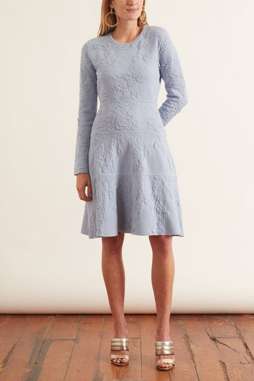 Long Sleeve Tiered Dress in Powder Blue