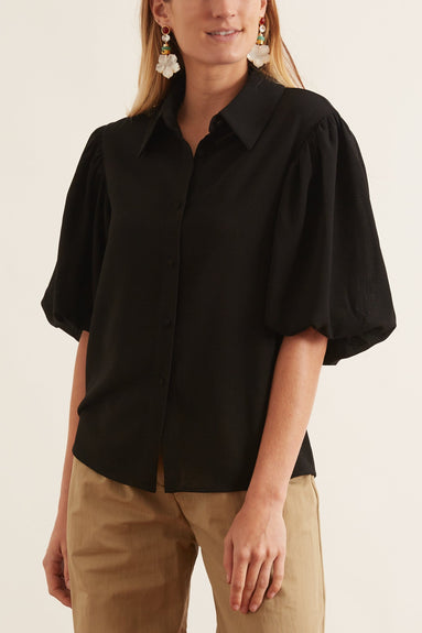 Louise Short Sleeve Top in Noir