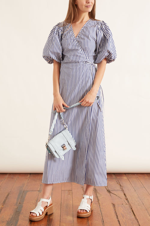 Audie Dress in Off White and Navy Stripe