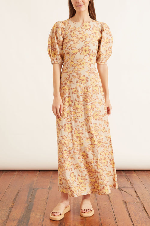 Flora Maxi Dress in Painted Floral Print