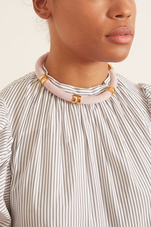 Double Take Necklace in Pink Suede
