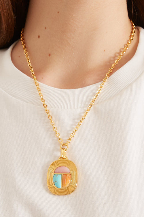 Midsummer Scarab Necklace in Gold