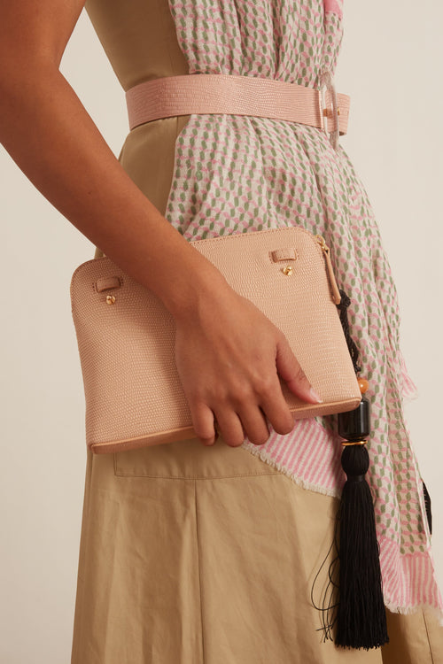 Mini Safari Clutch in Blush Lizard with Strap