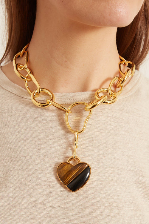 Porto Necklace in Tiger's Eye and Black Agate