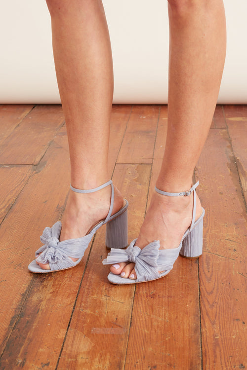 Camellia Pleated Knot Heeled Sandal in Blue