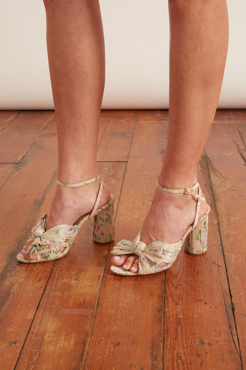 Camellia Pleated Knot Heeled Sandal in Tan Floral