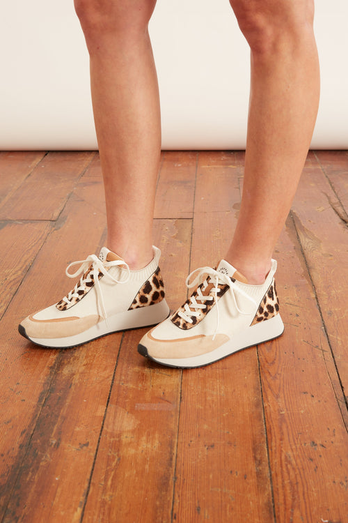 Remi Lace Up Sneaker in Mocha Haircalf