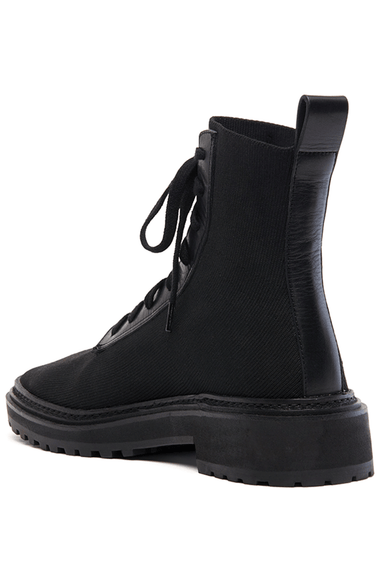 Brady Stretch Knit Combat Boot in Black