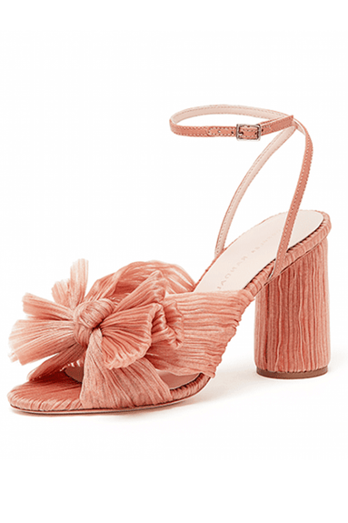 Camellia Knot Mule with Ankle Strap in Bermuda Pink
