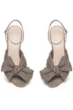 Camellia Knot Mule with Ankle Strap in Champagne