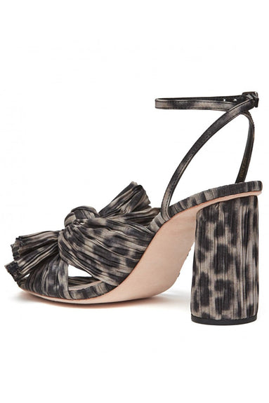 Camellia Knot Mule with Ankle Strap in Dark Leopard