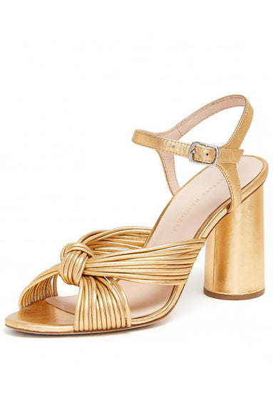 Cece High Heel Knot Ankle Strap Sandal in Gold
