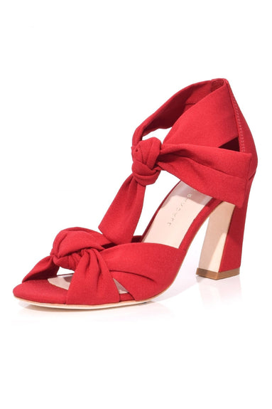 Nan Ankle Tie Heel in Bright Red