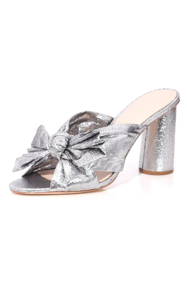 Penny Pleated Knot Mule in Silver