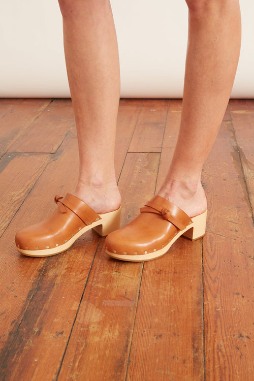Roberta Low Heel Clog in Cognac