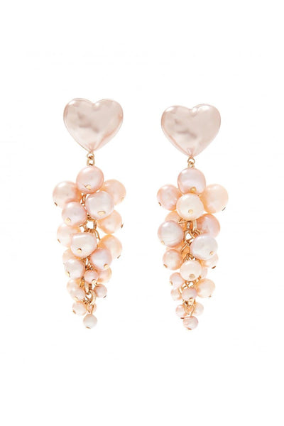 Tallulah Heart and Pearl Waterfall Earring in Pearl