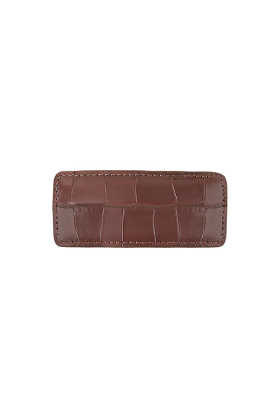 Wren Leather Barrette in Chocolate