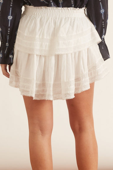 Ruffle Mini Skirt in Antique White