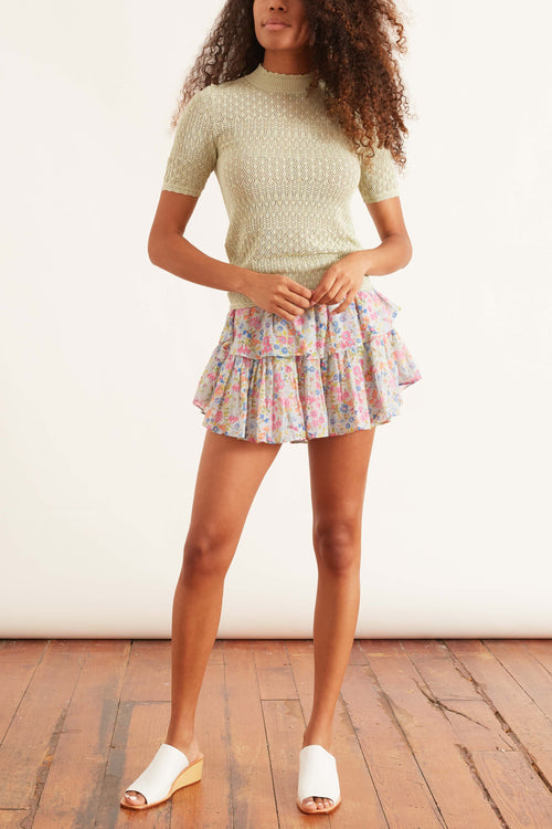 Ruffle Mini Skirt in Coral Reef Waves