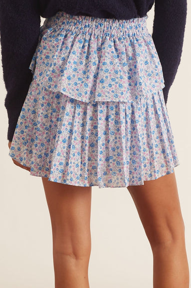 Ruffle Mini Skirt in Crushed Blueberries