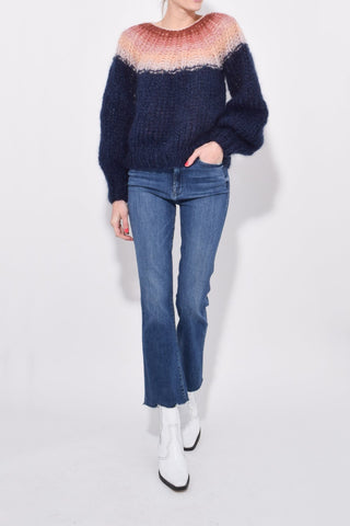 Mohair Pleated Sweater in Navy