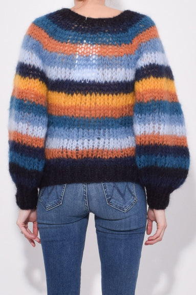 Striped Sweater with Blousy Sleeves in Retro Stripe