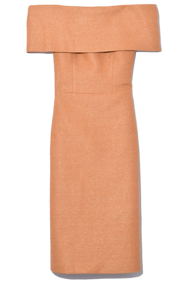 Golden Ticket Off Shoulder Dress in Caramel