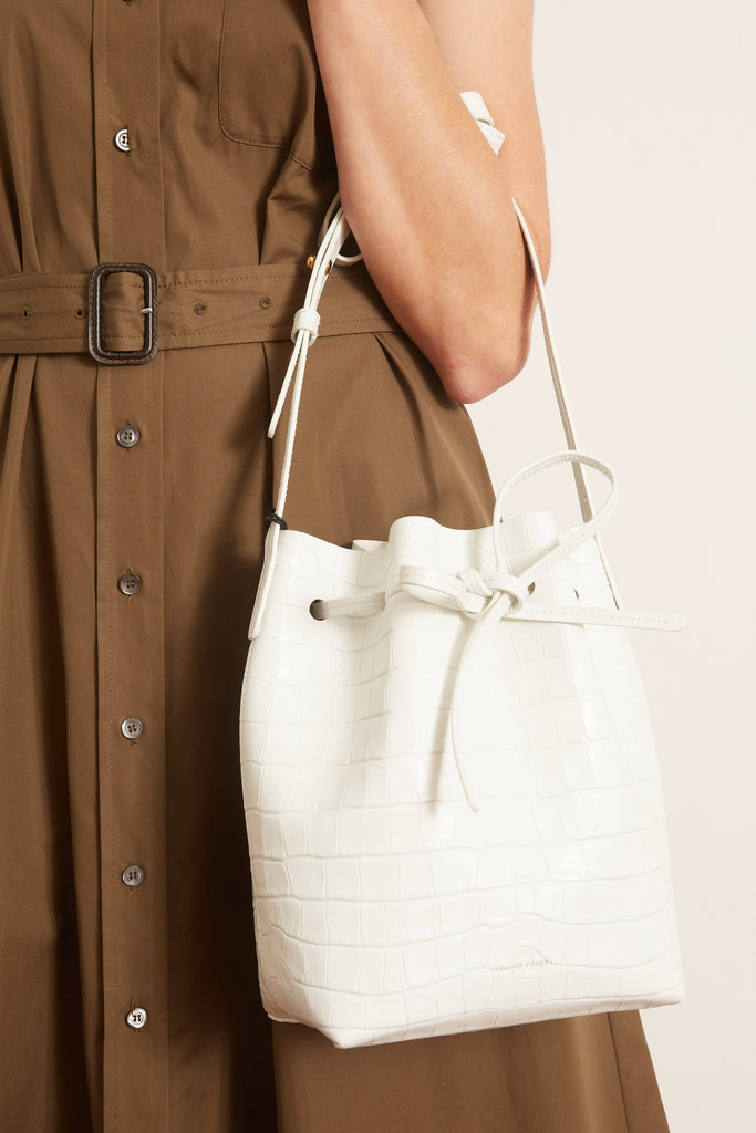 Mansur Gavriel Croc Embossed Mini Bucket Bag in White – Hampden ...