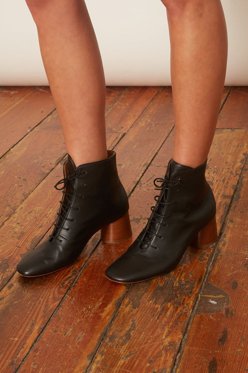 Stacked Heel Lace Up Boot in Black