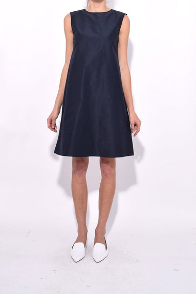 Cotton Silk Taffeta Mini Dress in Blu