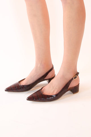 Croc Embossed Slingback in Classic