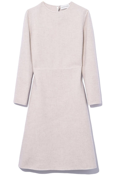 Double Face Cashmere Long Sleeve Dress in Beige Melange