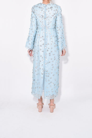 Floral Embellished Evening Gown in Sky Blue