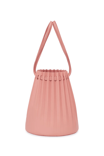 Lambskin Pleated Bucket Bag in Coral