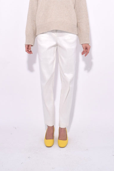 Linen Blend High Waisted Pant in Creme