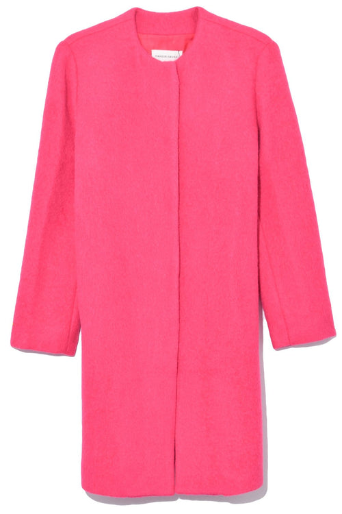 Long Collarless Coat in Fuchsia