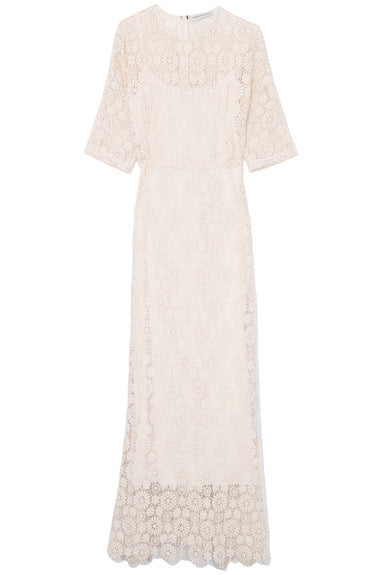 Long Sheath Floral Lace Dress in White