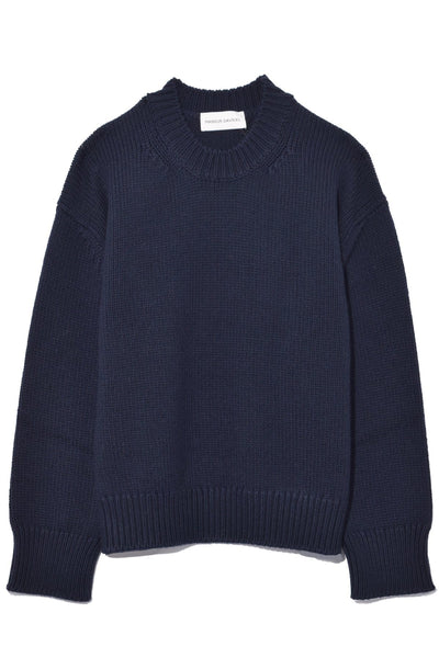 Oversized Crewneck Wool Sweater in Blu