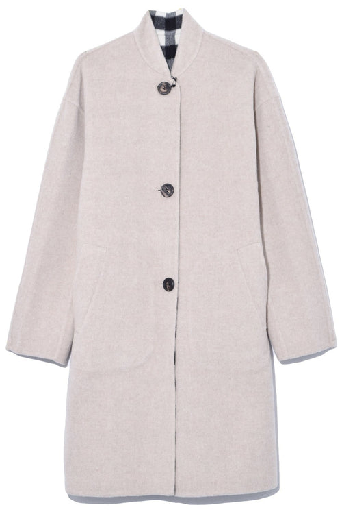 Reversible Stand Collar Coat in Beige/Checker