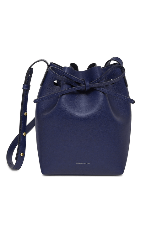 Saffiano Mini Bucket Bag in Blu/Blu